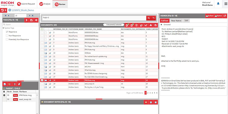 eDiscovery screenshot of review screen