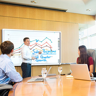 man presenting on a whiteboard