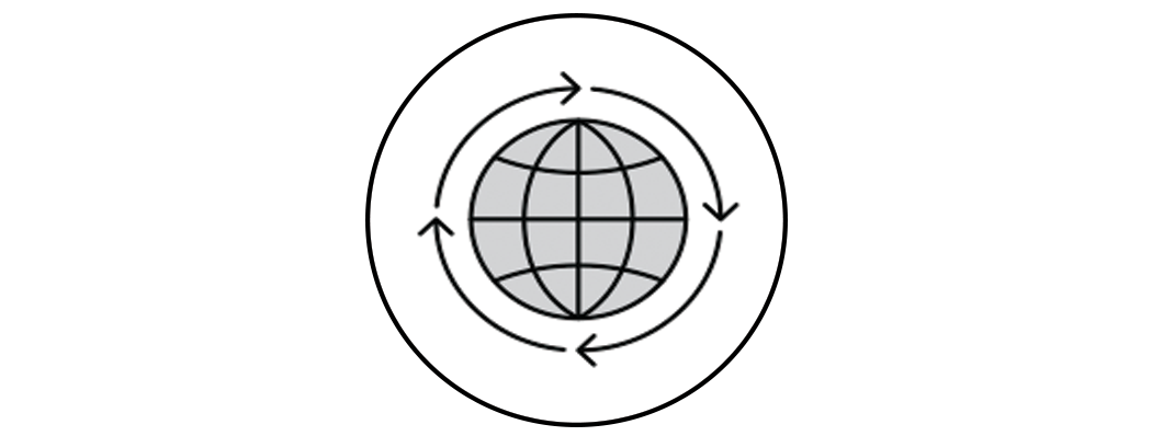 illustration of a globe with arrows circling around it