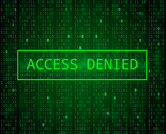 binary code in the background of a message in a green box that reads: ACCESS DENIED