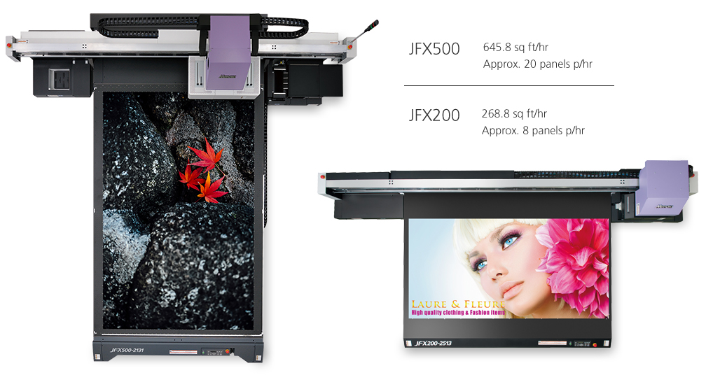 Page size/panel p hr comparison between the Mimaki 200 and 500 models