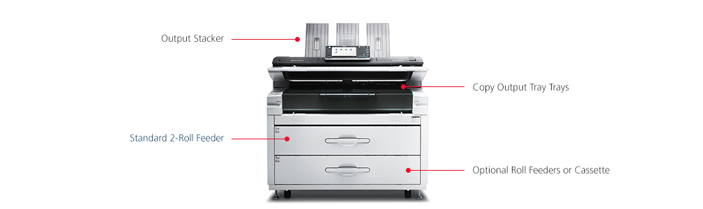 printer on white background with features called out