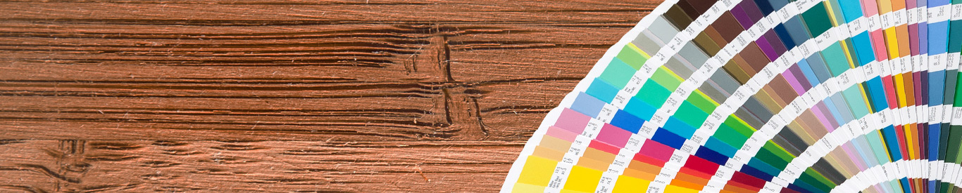 color swatches on wood desktop