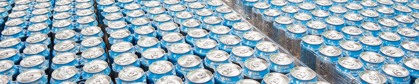 Photo of rows of aluminum cans.