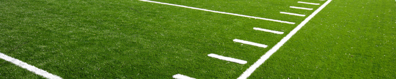 Line markers on football field