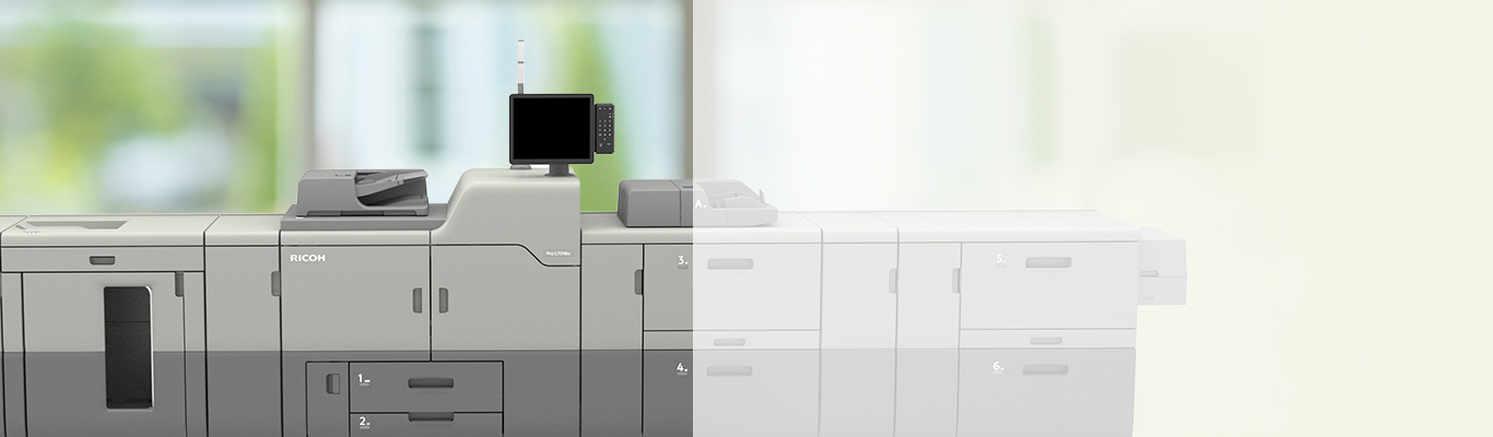 ricoh pro 7210sx printer in office environment with green background