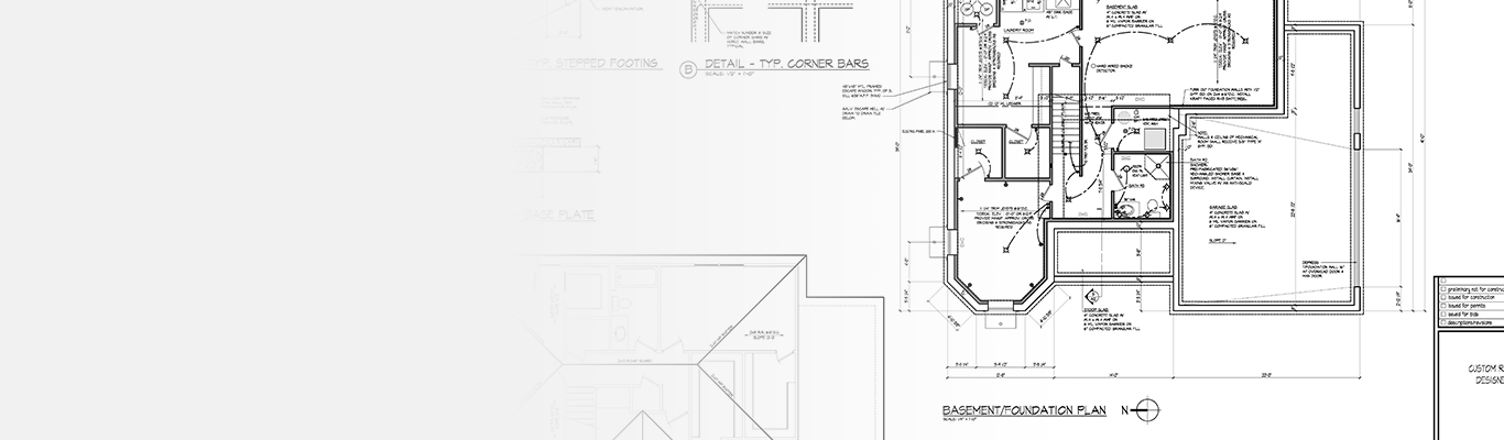 close up of building plans in black and white