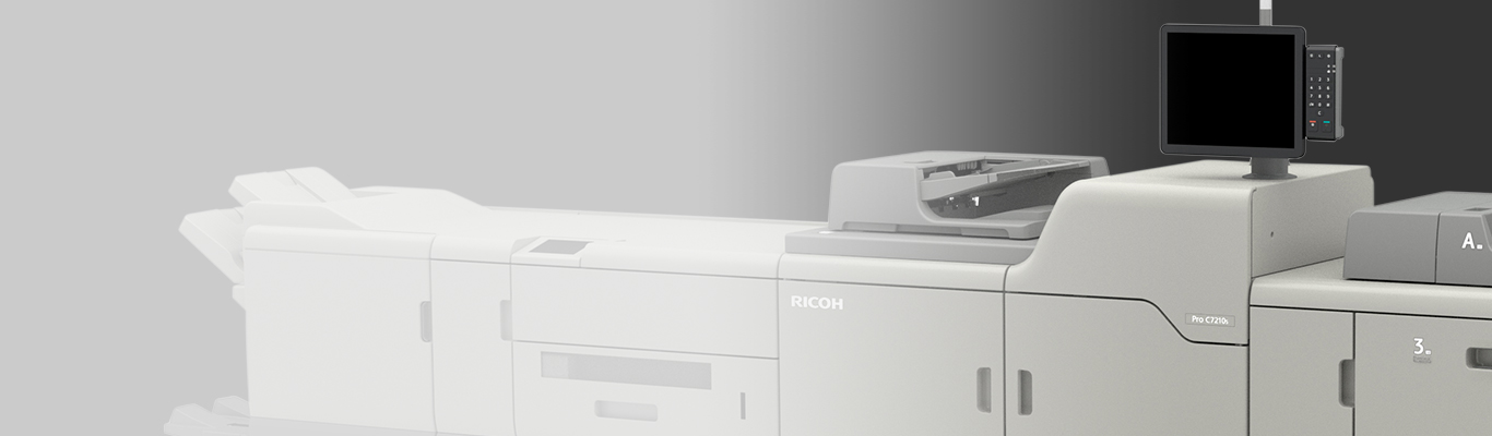 ricoh pro 7210s printer angled on gray background