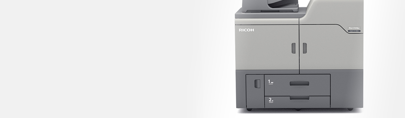 close up of ricoh pro 7210sx paper capacity module on white background