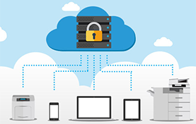 image of a lock in a cloud connected to printers and mobile devices