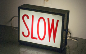 Slow Illuminated Sign On The Floor