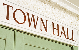 photo of a town hall sign