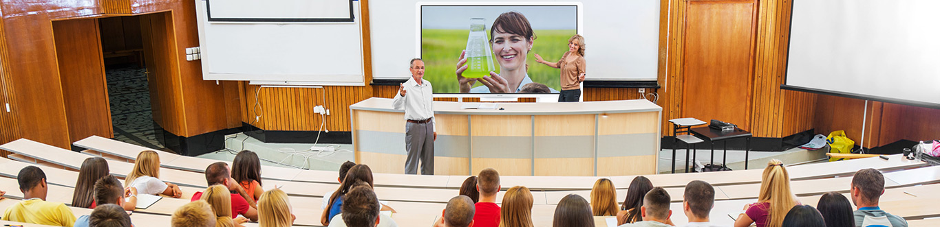 Photo of a professor teaching in front of an interactive whiteboard.
