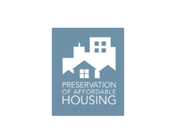 Preservation of affordable housing logo.